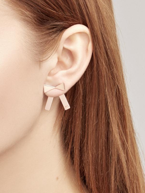 kolczyki kokardy bo1 rose gold różowe złoto minimalistyczna biżuteria moie