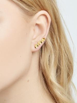Złote kolczyki geometryczne minimalistyczna biżuteria moie