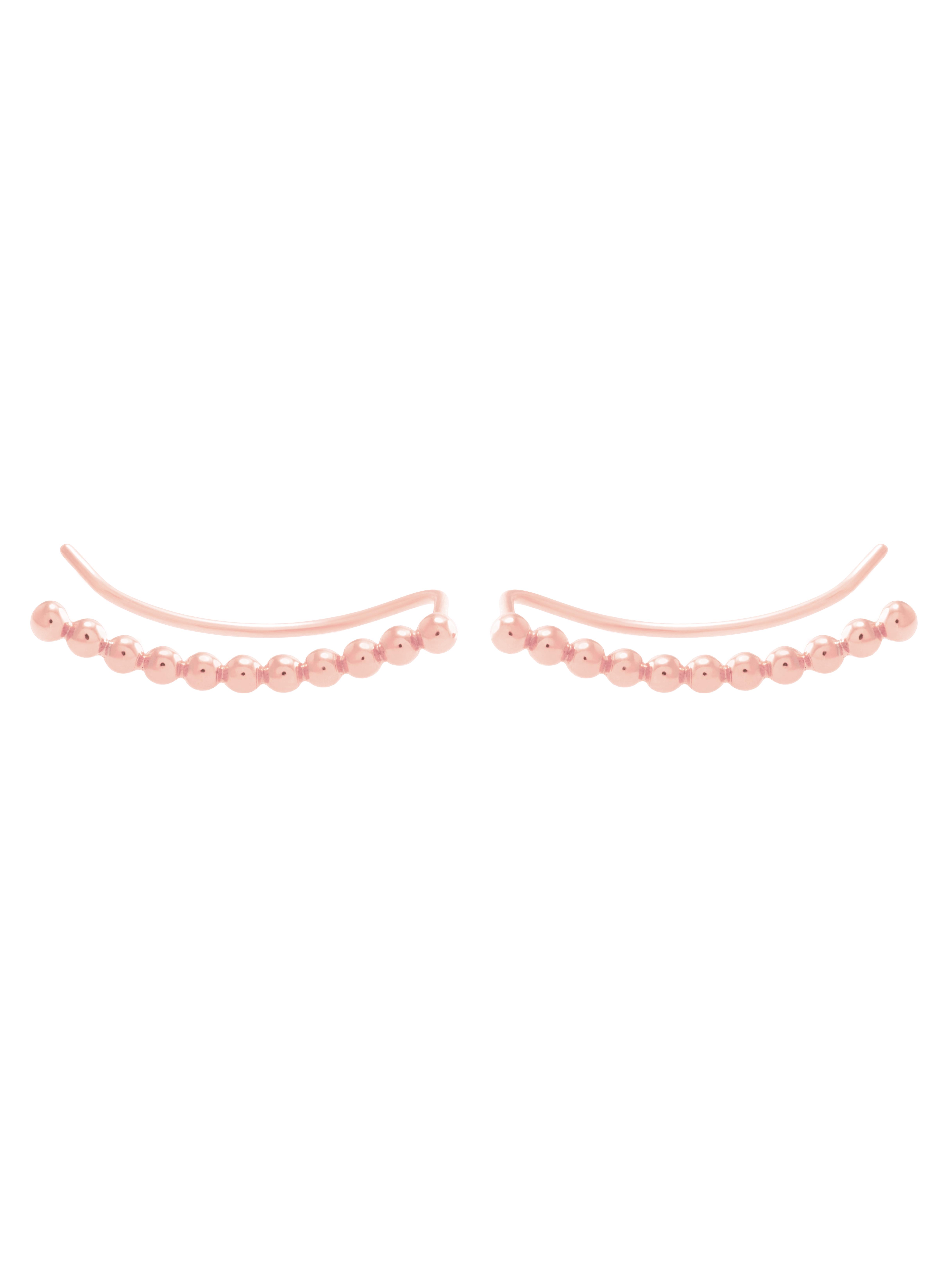 Kolczyki z kulkami nausznica różowe złoto minimalistyczna biżuteria moie