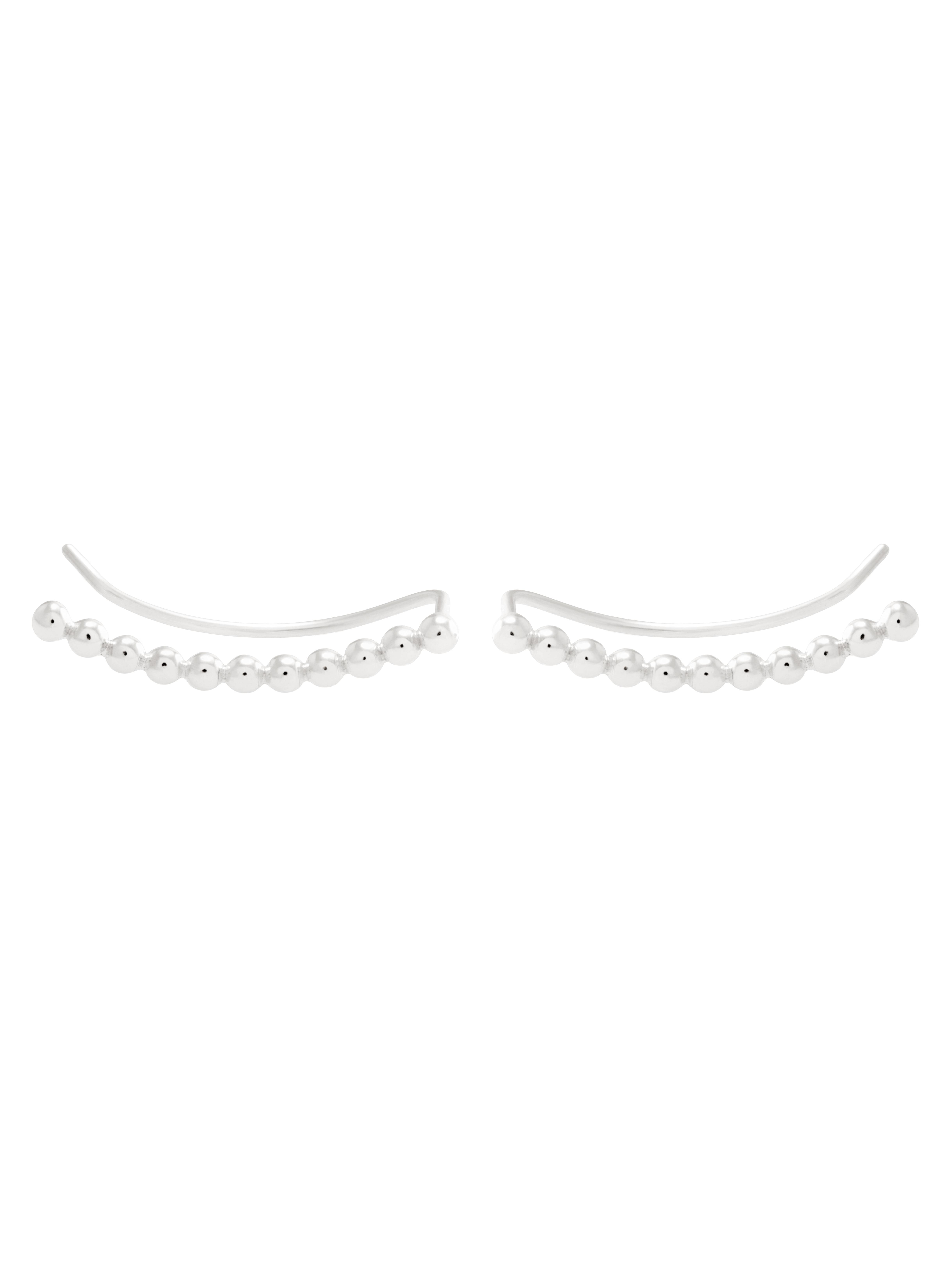 srebrne kolczyki z kulkami nausznica minimalistyczna biżuteria moie
