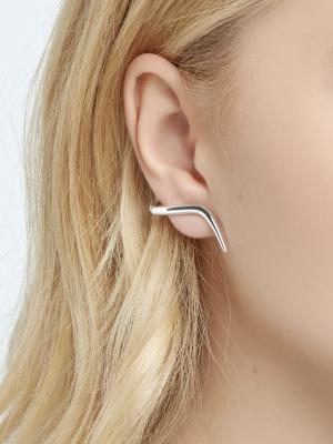 Srebrne nausznice kolczyki minimalistyczna biżuteria moie