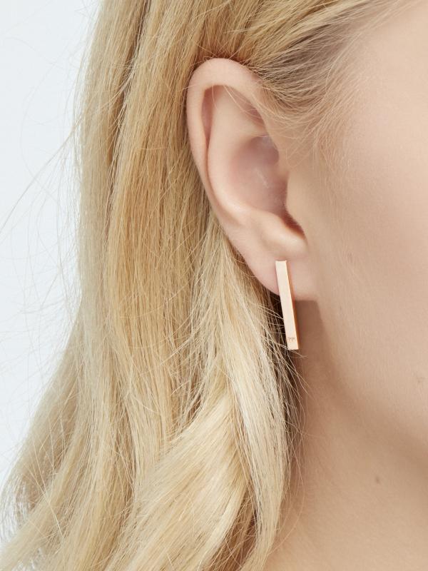 asymetryczne kolczyki koła me9 rose gold różowe złoto minimalistyczna biżuteria moie