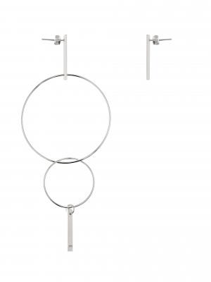 Srebrne kolczyki asymetryczne me9 silver srebro minimalistyczna biżuteria moie