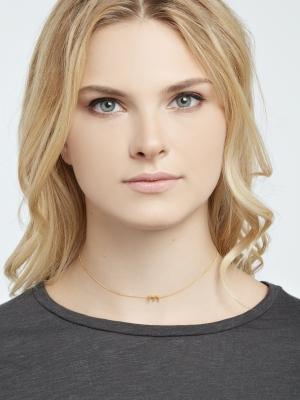 łańcuszek z literką M naszyjnik złoto minimalistyczna biżuteria moie
