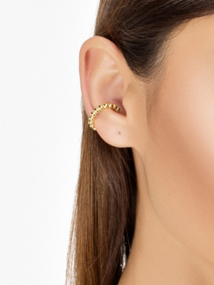 moie Złota nausznica z kuleczkami minimalistyczna biżuteria moie