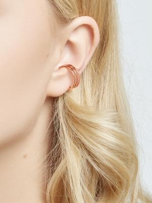 Nausznica potrójna różowe złoto minimalistyczna biżuteria moie