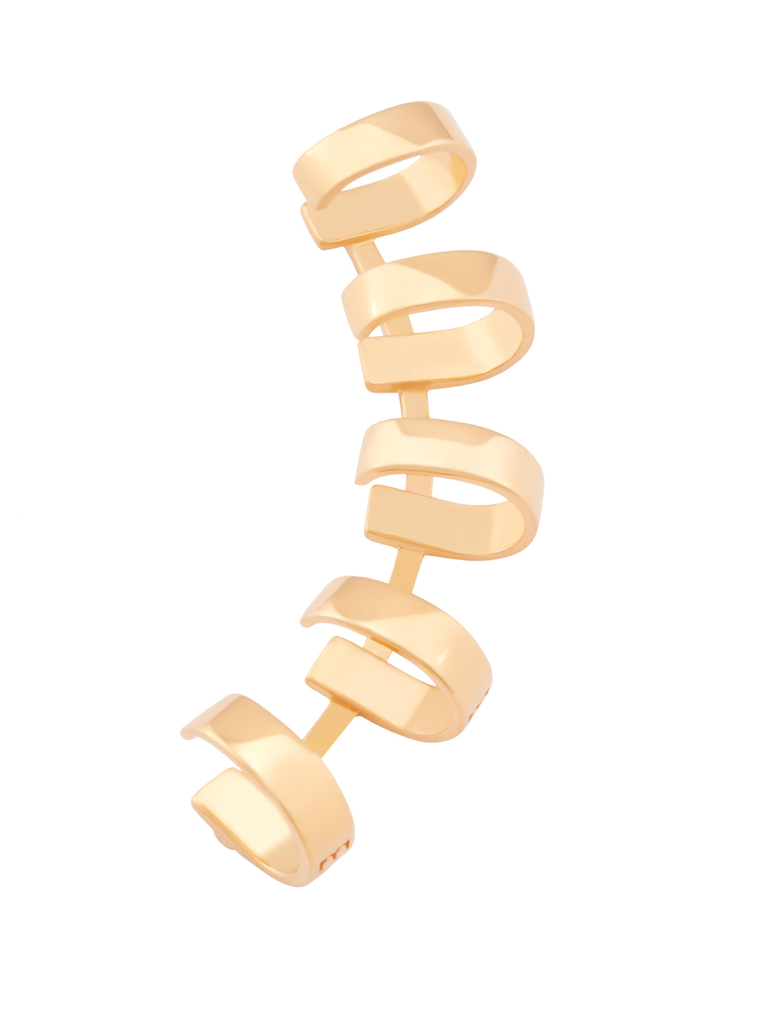 Złota nausznica z kółkami me4 gold złoto minimalistyczna biżuteria moie