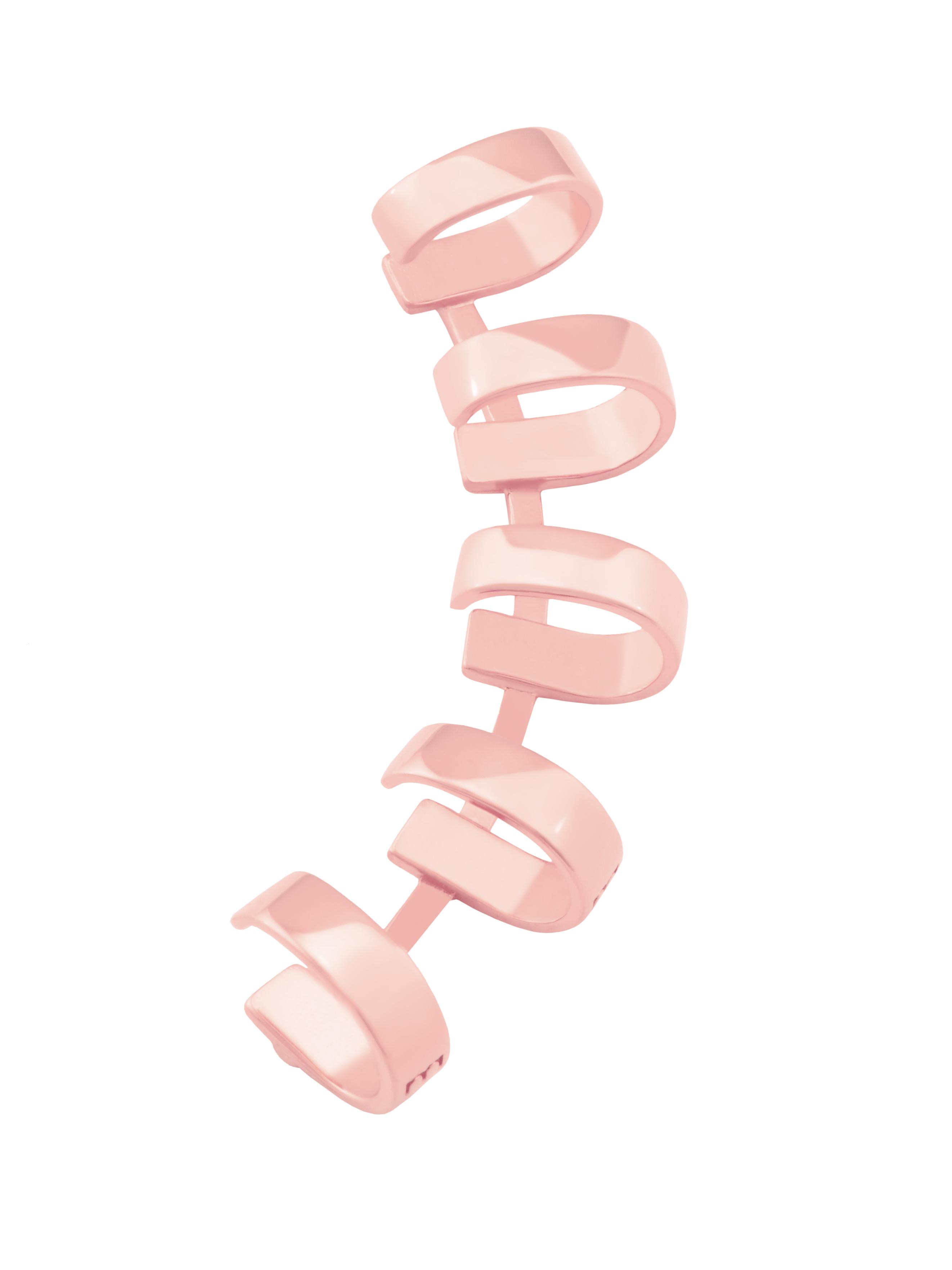 Nausznica z kółkami me4 rose gold różowe złoto minimalistyczna biżuteria moie