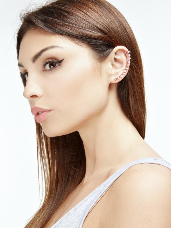 Nausznica na całe ucho różowe złoto minimalistyczna biżuteria moie
