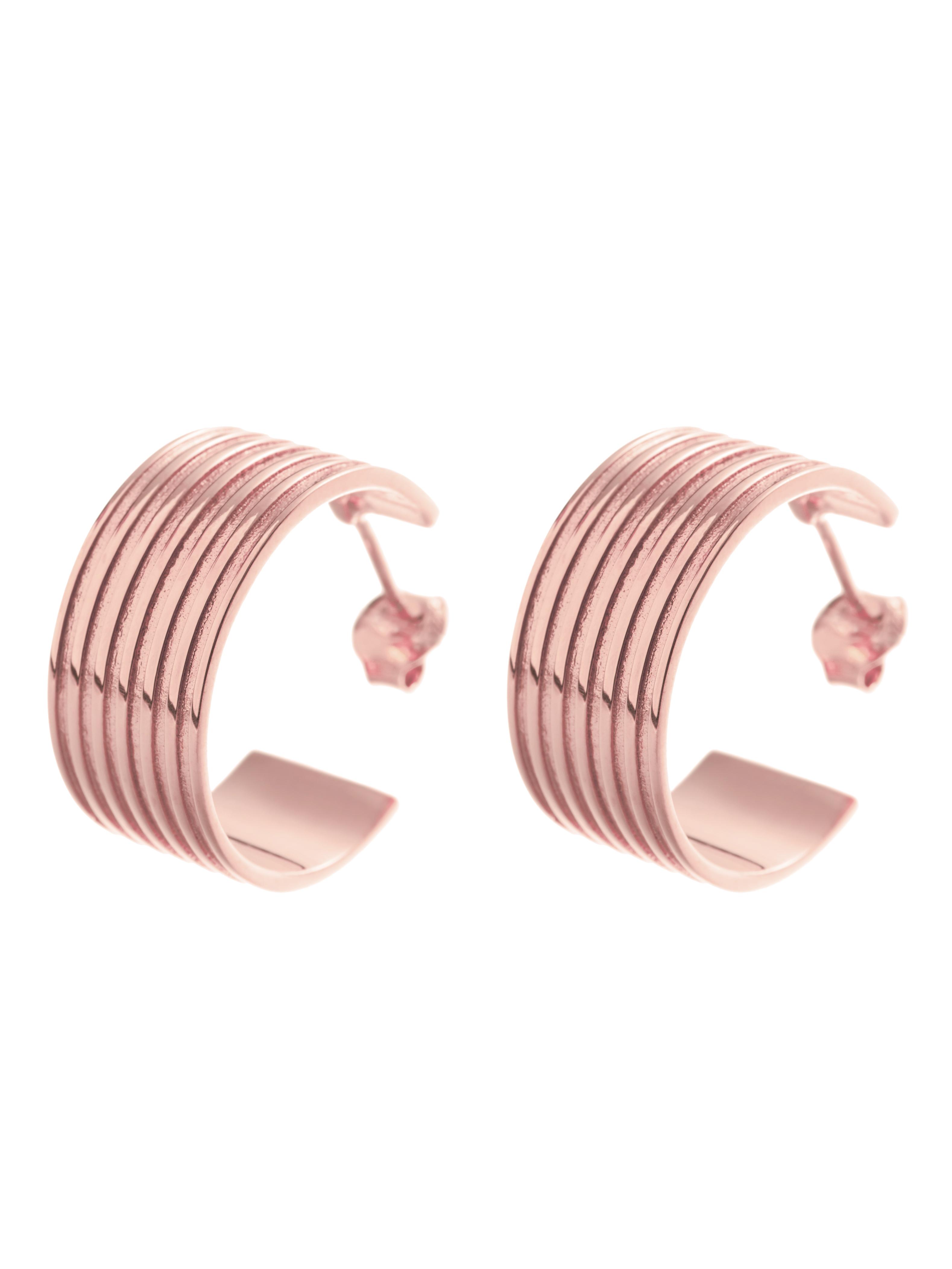 kolczyki kółka szerokie re10 różowe złoto minimalistyczna biżuteria moie