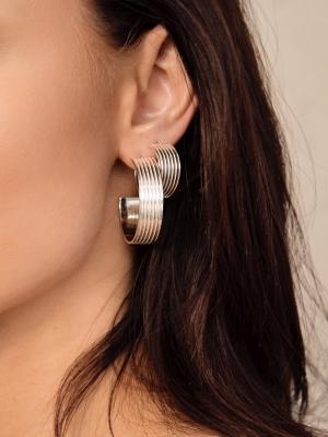 kolczyki szerokie koła re11 silver biżuteria srebrna moie