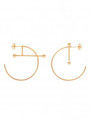 Kolczyki asymetryczne kółka re5 złoto minimalistyczna biżuteria moie