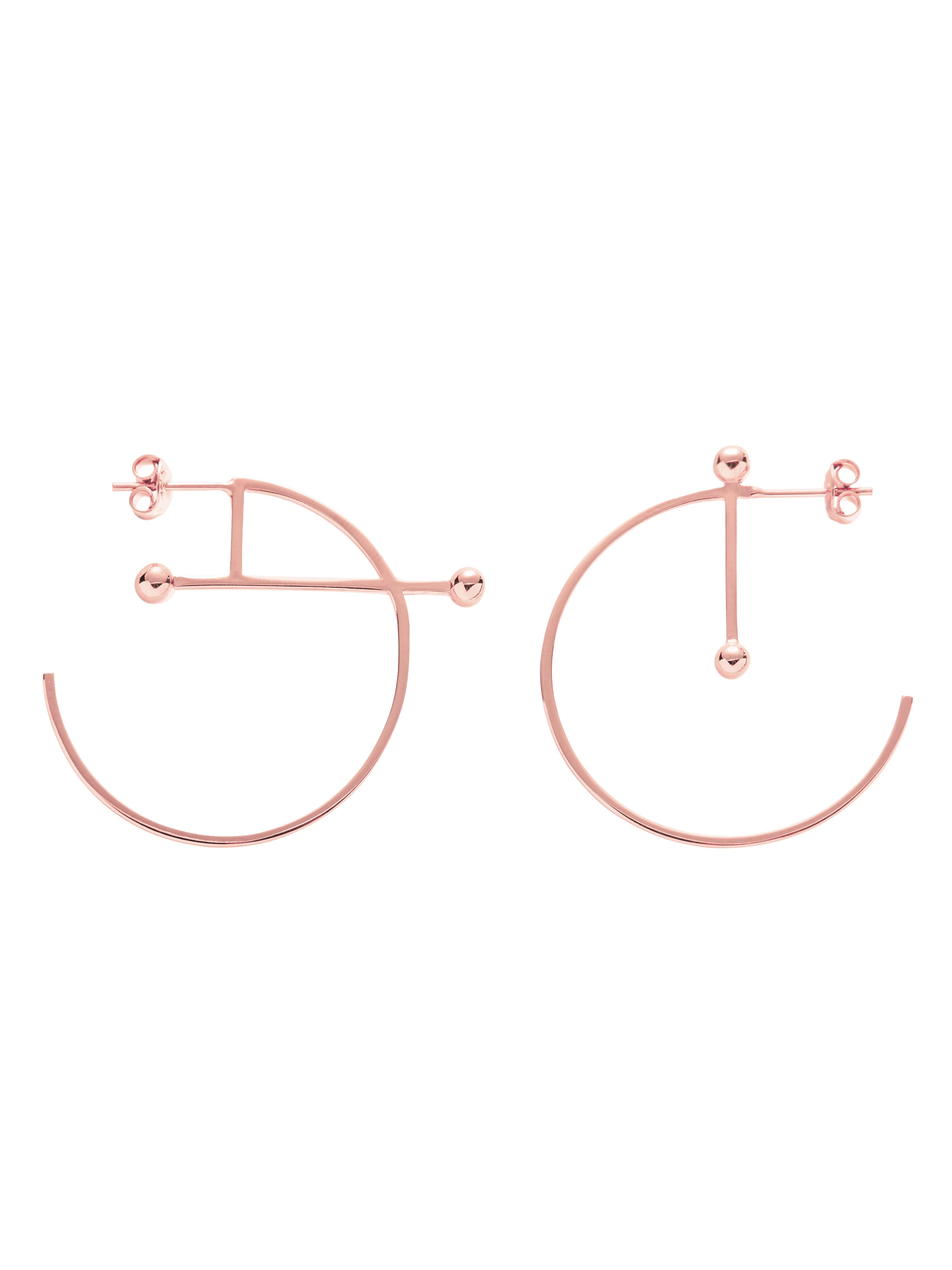 Kolczyki kółka asymetryczne re5 różowe złoto minimalistyczna biżuteria moie