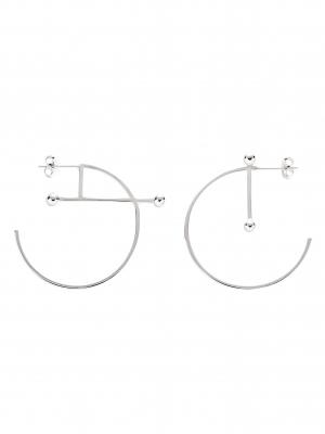 asymetryczne kolczyki kółka re5 srebro minimalistyczna biżuteria moie