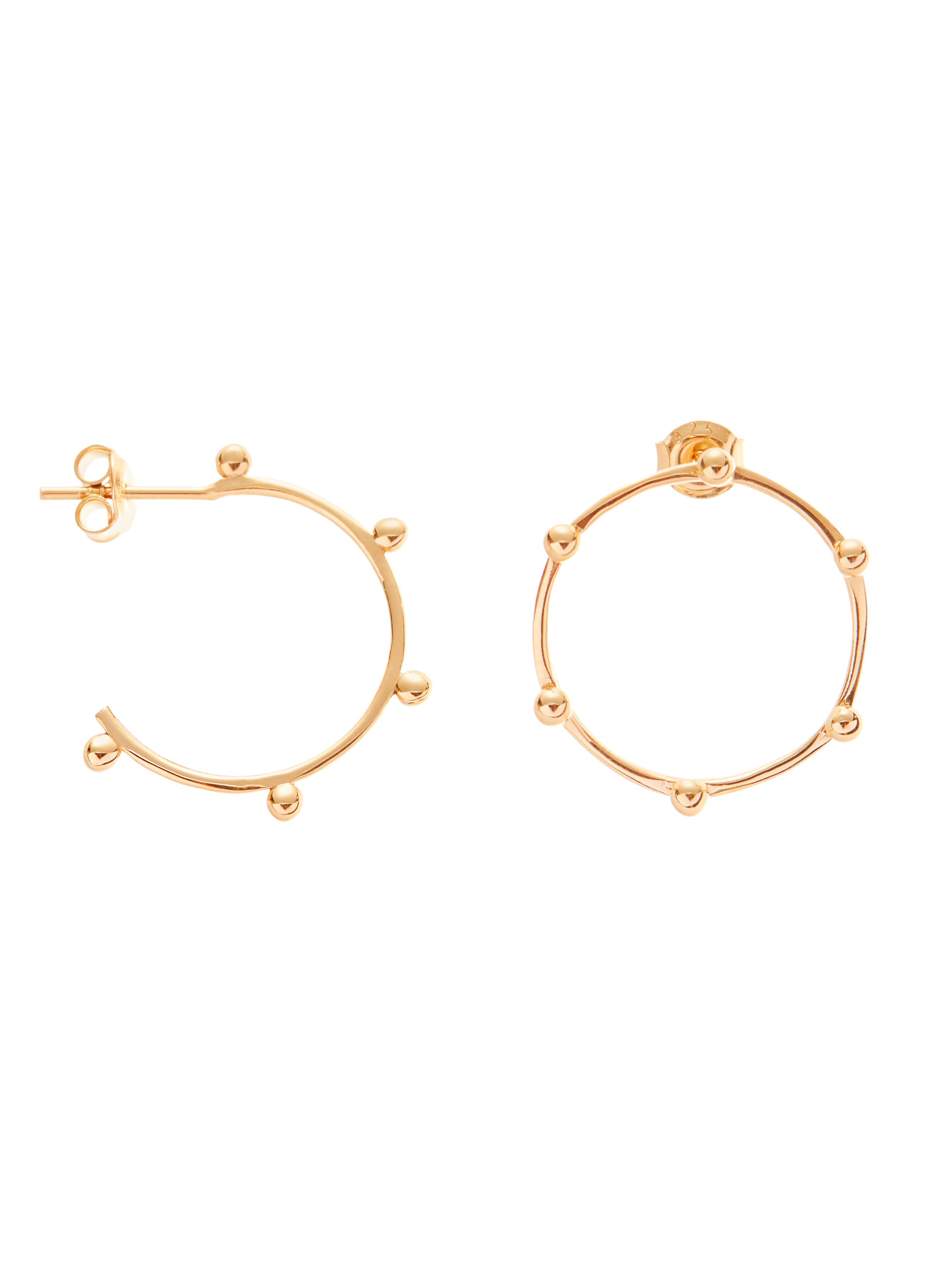 Kolczyki asymetryczne płaskie kółka re7 gold złoto minimalistyczna biżuteria moie