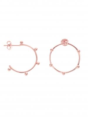 Kolczyki asymetryczne kółka z kuleczkami re7 rose gold różowe złoto minimalistyczna biżuteria moie