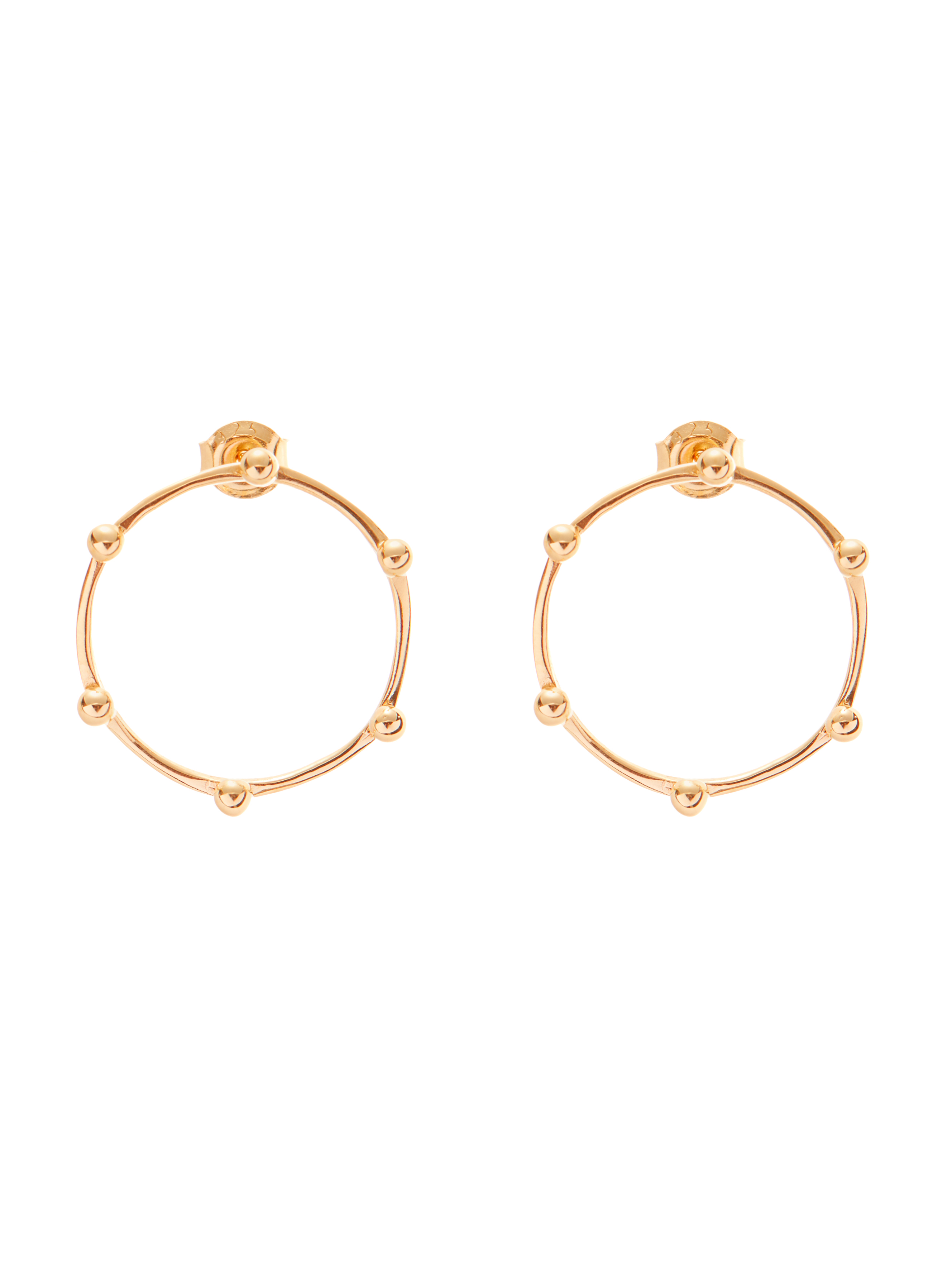 Kolczyki małe płaskie kółka kolczyki re8 gold złoto minimalistyczna biżuteria moie