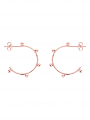 Kolczyki kółka z kuleczkami re9 rose gold różowe złoto minimalistyczna biżuteria moie