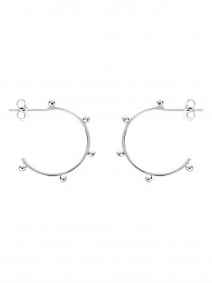 kolczyki małe kółka z kuleczkami re9 silver srebro minimalistyczna biżuteria moie