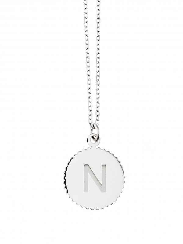 Naszyjnik medalik z literką re1 silver srebro minimalistyczna biżuteria moie