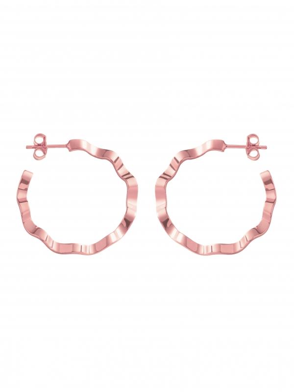 kolczyki kółka różowe złoto minimalistyczna biżuteria moie